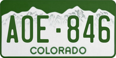 CO license plate AOE846