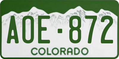 CO license plate AOE872