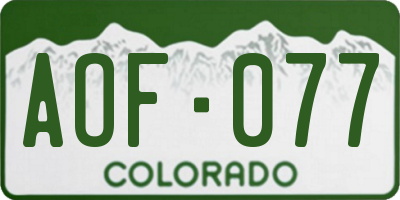 CO license plate AOF077