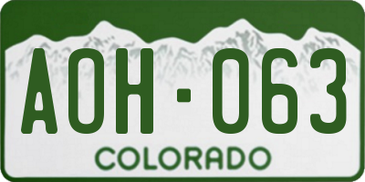 CO license plate AOH063