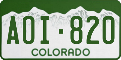 CO license plate AOI820