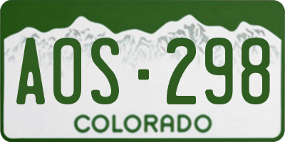 CO license plate AOS298