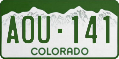 CO license plate AOU141