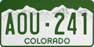 CO license plate AOU241