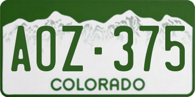 CO license plate AOZ375