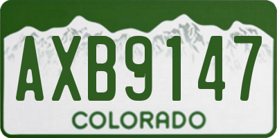 CO license plate AXB9147