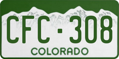 CO license plate CFC308