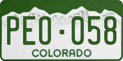 CO license plate PEO058
