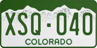 CO license plate XSQ040