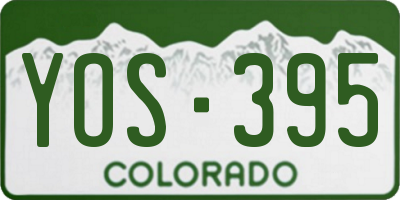 CO license plate YOS395