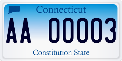 CT license plate AA00003