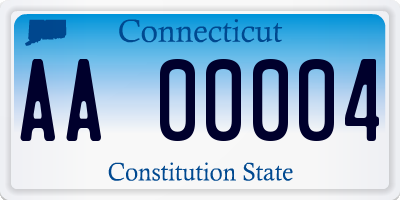 CT license plate AA00004