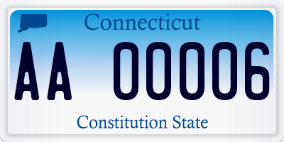 CT license plate AA00006