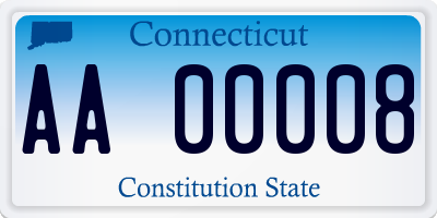 CT license plate AA00008
