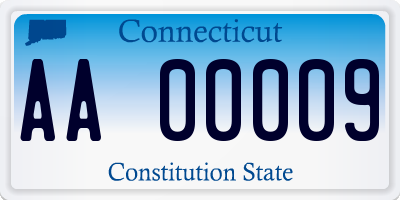 CT license plate AA00009