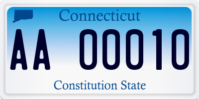 CT license plate AA00010