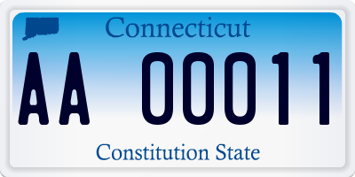 CT license plate AA00011
