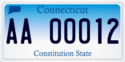 CT license plate AA00012