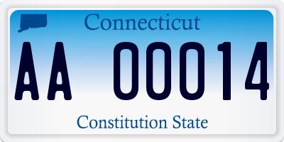 CT license plate AA00014