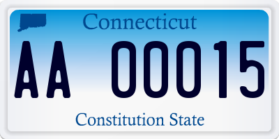 CT license plate AA00015