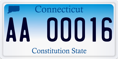 CT license plate AA00016