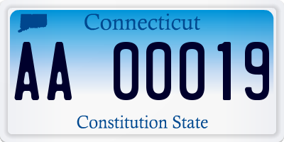 CT license plate AA00019