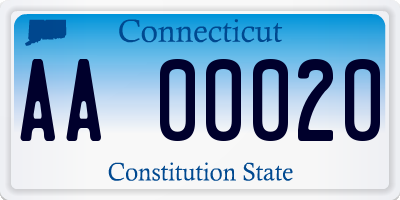 CT license plate AA00020