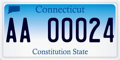 CT license plate AA00024