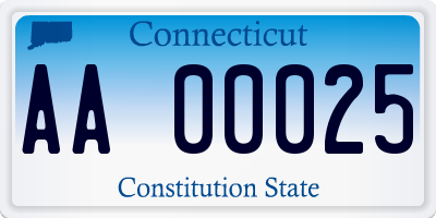 CT license plate AA00025