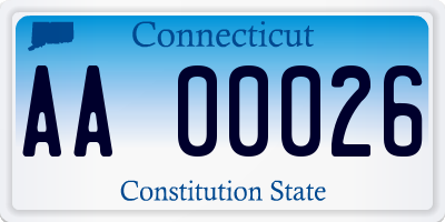 CT license plate AA00026