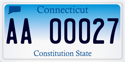 CT license plate AA00027