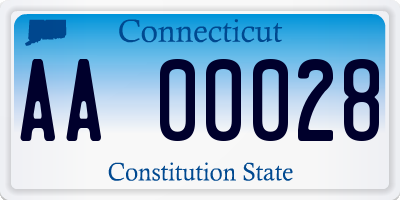 CT license plate AA00028