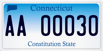 CT license plate AA00030