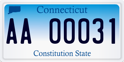 CT license plate AA00031