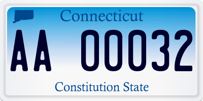 CT license plate AA00032