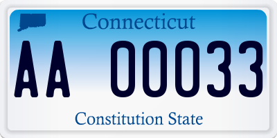 CT license plate AA00033