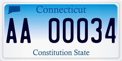 CT license plate AA00034