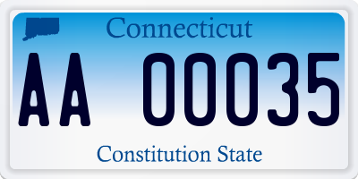 CT license plate AA00035