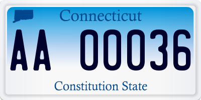 CT license plate AA00036