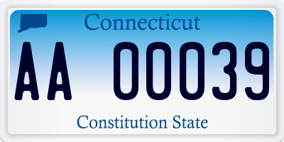 CT license plate AA00039