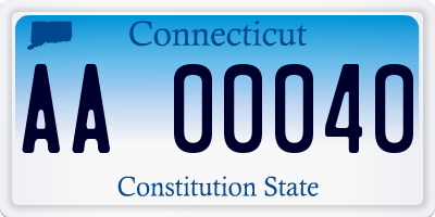 CT license plate AA00040