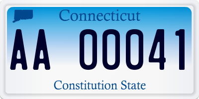 CT license plate AA00041
