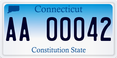 CT license plate AA00042