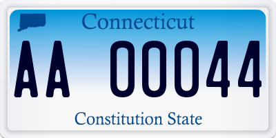 CT license plate AA00044