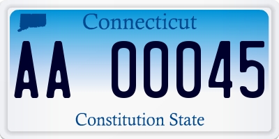 CT license plate AA00045