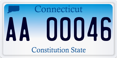 CT license plate AA00046