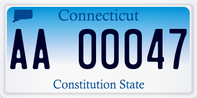 CT license plate AA00047