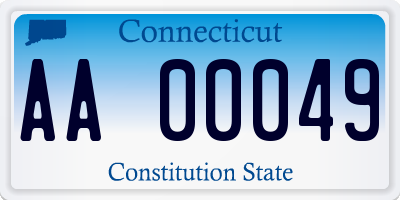CT license plate AA00049