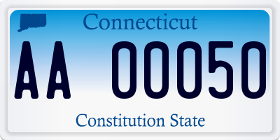 CT license plate AA00050