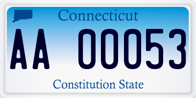 CT license plate AA00053